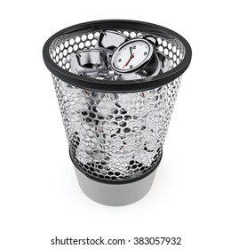Wasting Time Concept. Alarm Clocks in the Trash Bin on a white background