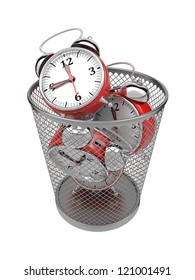 Wasting Time Concept: Red Clocks in Metal Trash Bin.