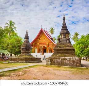 Wat Aham Outhama Thany. View of stupa in Wat Visounnarath. Laos.