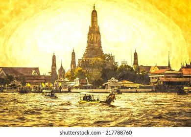 Wat Arun beside Chao Phraya River in sunset at Bangkok, Thailand. Watercolor.