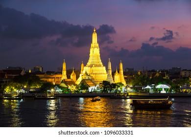 Wat Arun is a Buddhist temple in Bangkok, Thailand. Wat Arun Temple at twilight the landmark of Thailand.