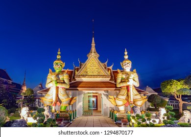 Wat Arun is a Buddhist temple in Bangkok Yai district of Bangkok, Thailand. Wat Arun is one of famous landmark Temple at sunset in bangkok Thailand. Giants front of the church at Wat Arun.