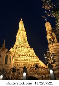 Wat Arun by night in Bangkok.Wat Arun, locally known as Wat Chaeng, is situated on the west (Thonburi) bank of the Chao Phraya River.