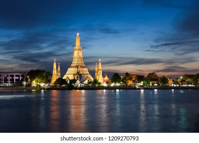 Wat arun, the famous landmark near Chao Phraya river in Bangkok Thailand. It is in dusk and evening. It is good for Bangkok nightlife and tourism