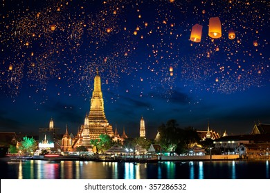 Wat arun with krathong lantern, Bangkok Thailand