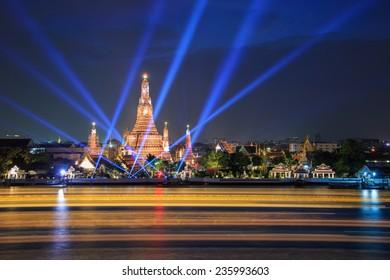 Wat Arun and laser beam show under new year celebration at Bangkok, Thailand