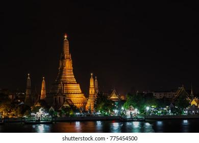 Wat Arun, Night view at temple of dawn : beautiful night shot at Wat Arun in Bangkok, Thailand
