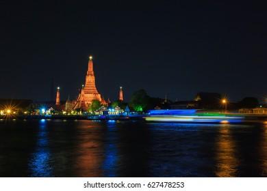 Wat Arun Rajwanaram at  night in Bangkok, Thailand