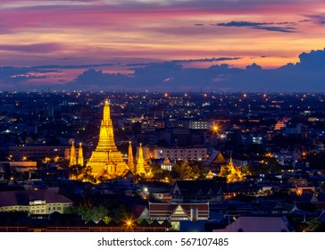 Wat Arun Temple of a dawn  in Bangkok Thailand .Bangkok is the most populated city in Southeast Asia. Bangkok , Thailand