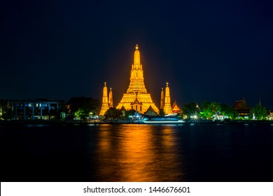 Wat Arun Temple at night with blue sky in Bangkok  Thailand.Photo by long exposure.