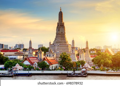Wat Arun Temple at sunset in bangkok Thailand. Wat Arun is a Buddhist temple in Bangkok Yai district of Bangkok, Thailand, Wat Arun is among the best known of Thailand's landmarks