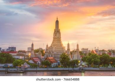 Wat Arun Temple at sunset in bangkok Thailand. Wat Arun is a Buddhist temple in Bangkok Yai district of Bangkok, Thailand, Wat Arun is among the best known of Thailand's landmarks
