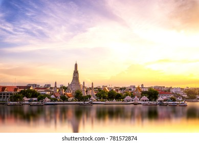 Wat Arun Temple at sunset in bangkok Thailand. Wat Arun is a Buddhist temple in Bangkok Yai district of Bangkok, Landmark of thailand