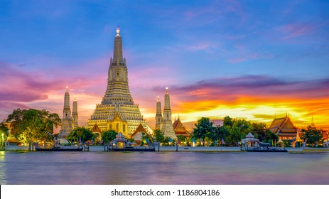 Wat Arun Temple at sunset landmark of  Bangkok, Thailand