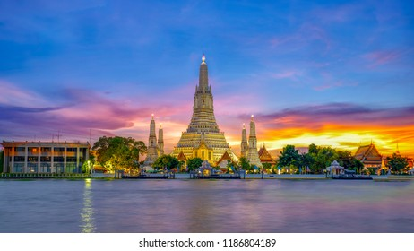 Wat Arun Temple at sunset landmark of  Bangkok, Thailand