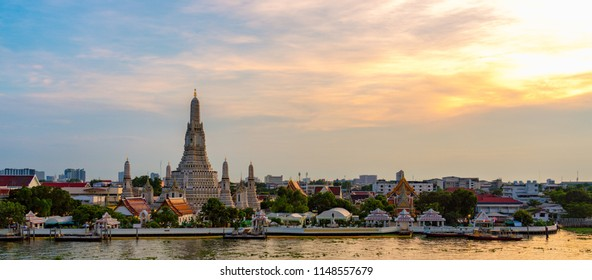 Wat Arun temple at sunset time, Bangkok, Thailand
