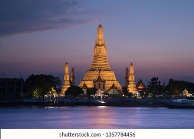 Wat Arun Temple at sunset time in bangkok ,Thailand.Wat Arun is among the best known of Thailand's landmarks