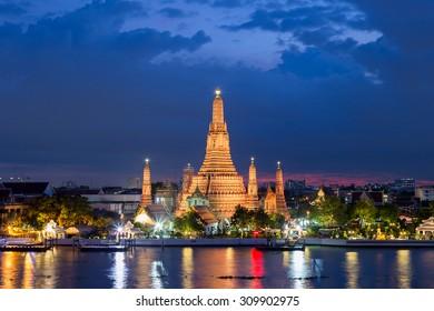 Wat Arun Temple at twilight in bangkok Thailand.