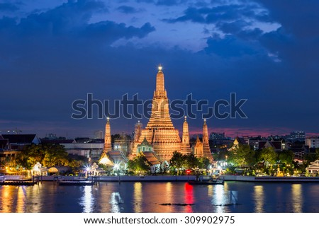 Wat Arun Temple at twilight in bangkok Thailand.