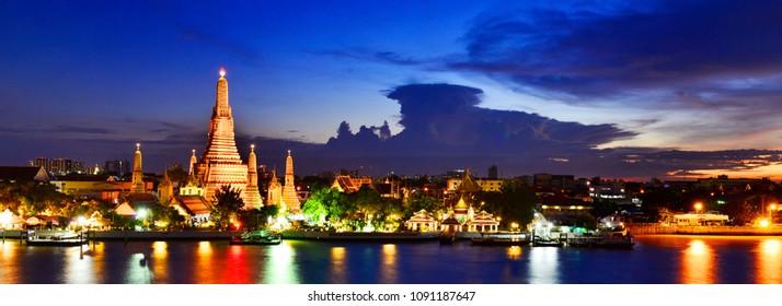 Wat Arun Temple at twilight time in bangkok Thailand.