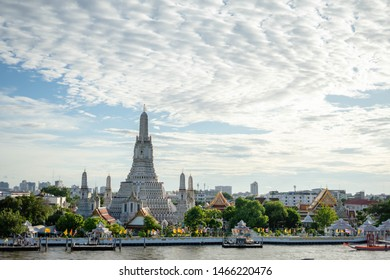Wat Arun, Thailand - July 29, 2019: Wat arun temple bangkok city or called Wat ancient temple. Each year, thousands of tourists. Wat Arun, The Temple of Dawn, view across Chaopraya, river. Bangkok,