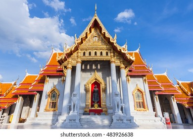 Wat Benchamabophit also known as Marble Temple at sunset in Bangkok, Thailand.