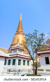 Wat Bowon Niwet Temple with golden pagoda near Khaosan Road, Bangkok, Thailand