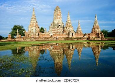 Wat Chai Watthanaram In the rainy season