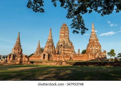 Wat Chai Watthanaram Temple, Ancient Pagoda in Ayutthaya Thailand.