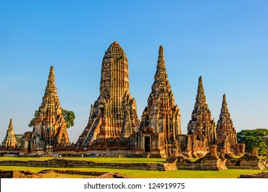Wat Chai Watthnaram in Ayutthaya, Thailand at early-evening.