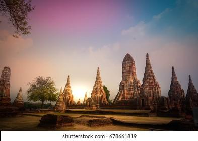 Wat Chaiwattanaram, an ancient ruin temple with beautiful pagoda in Thailand , Ayutthaya, Thailand