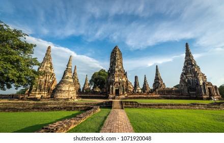 Wat Chaiwattanaram old ruins temple in Ayutthaya, Thailand. Landscape Ayutthaya Historical Park in Ayutthaya. The famous temple of the equivalent human Thailand.