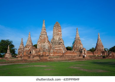 Wat Chaiwattanaram temple in Historical Park Ayutthaya Thailand on blue sky background.