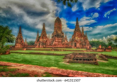 Wat Chaiwatthanaram is ancient buddhist temple, famous and major tourist attraction religious of Ayutthaya Historical Park in Phra Nakhon Si Ayutthaya Province, Thailand