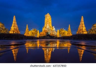 Wat Chaiwatthanaram of Ayutthaya Province ( Ayutthaya Historical Park ) in Thailand,Thailand architecture of ancient thai.