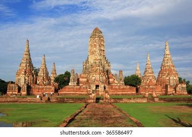 Wat Chaiwatthanaram at Ayutthaya, Thailand. The ancient temple built in Ayutthaya era