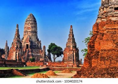 Wat Chaiwatthanaram, a Buddhist temple in the city of Ayutthaya Historical Park, Thailand