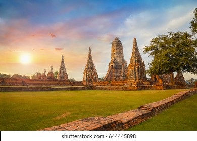 Wat Chaiwatthanaram temple in Ayuthaya Historical Park, a UNESCO world heritage site, Thailand