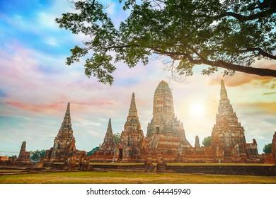 Wat Chaiwatthanaram temple in Ayuthaya Historical Park, a UNESCO world heritage site, Thailand
