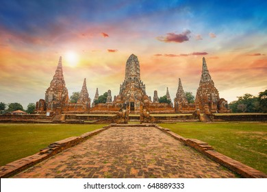 Wat Chaiwatthanaram temple in Ayuthaya Historical Park, a UNESCO world heritage site in Thailand