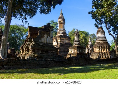 Wat Chedi Chet Thaeo temple and ancient pagoda in Sisatchanalai Historical Park, Sukhothai province Thailand