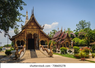 Wat Chedi Liam (Temple of the Squared Pagoda), the only ancient temple in the Wiang Kum Kam archaeological area that remains a working temple with resident monks at Chiang Mai, Thailand.