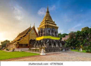 Wat Chiang Man at sunrise, the oldest temple in Chiang Mai, Thailand.