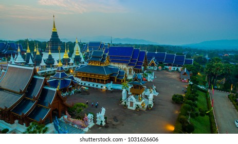 Wat Den Sari Sri Muaeng Kaen in Mae Tang Chiang Mai. Beautiful with Thai and Burmese Buddhism architecture and guarding animal sculptures at staircases. One of the should see temple in Chiang Mai.