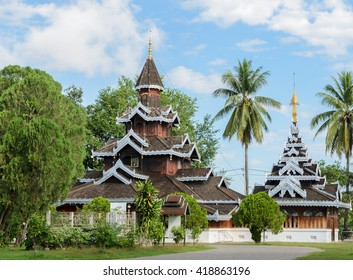 Wat Hua Wiang,  Burmese temple with multi-gabled wooden monastery in Mae Hong Son, Thailand