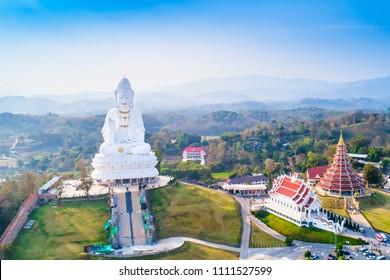 Wat Hyua Pla Kang Temple in Chiang Rai Thailand Drone Aerial shot