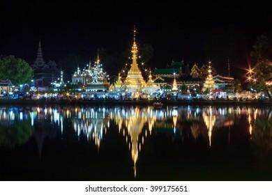 Wat Jong Klang and Wat Jong Kham in dark night and reflection at Maehongson Province, North of Thailand