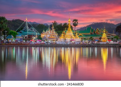 Wat Jongklang - Wat  Jongkham the most favourite place for tourist in Mae hong son near  Chiang mai, Thailand with sunset sky