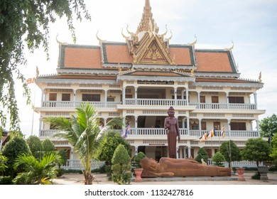 the Wat Kampong Thom Temple in the city of Kampong Thom of Cambodia.  Cambodia, Kampong Thom, November, 2017,