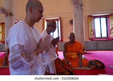 Wat Klang/Buriram - Apr 29, 2018: Thai man entering to monkhood in the church as traditional Thai when he was thirty year old.